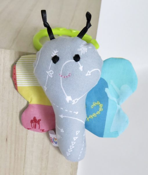 Handmade soft toy butterfly rattle